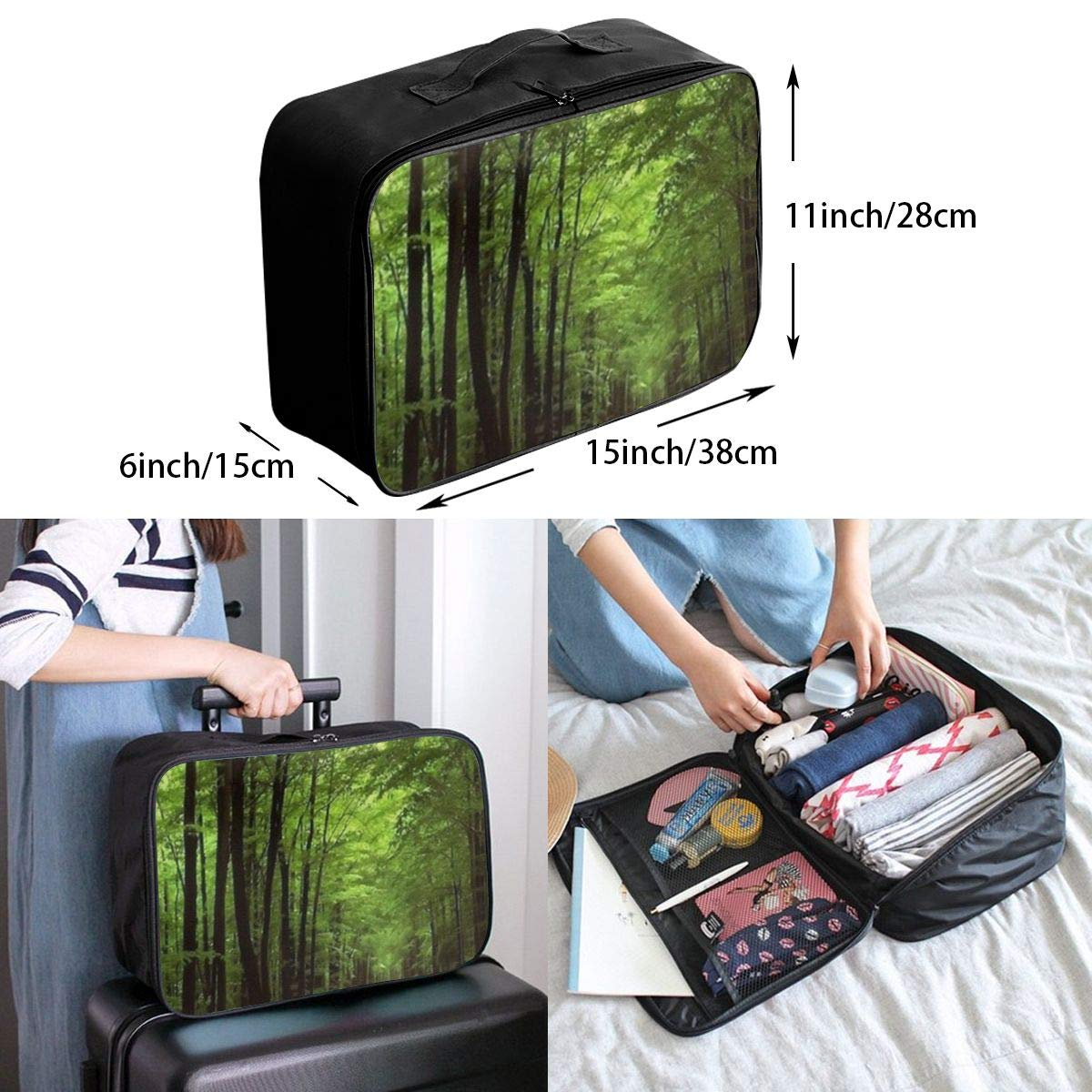ADGAI Deep in The Forest Thick Green Vegetation Tree Nature Mouse Pad Mat Canvas Travel Weekender Bag,Fashion Custom Lightweight Large Capacity Portable Luggage Bag,Suitcase Trolley Bag