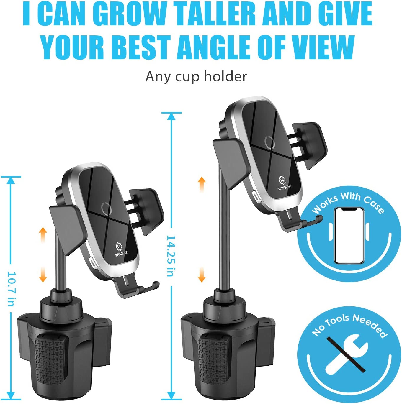 Wireless Car Charger Xs//MAX//XS//XR//X//8// Samsung S10//S9//S8 Full Automatic Arms 10W Qi Fast Charging Compatible iPhone 11 Cup Phone Holder for Car WixGear Auto-Clamping Fast Wireless Car Charger