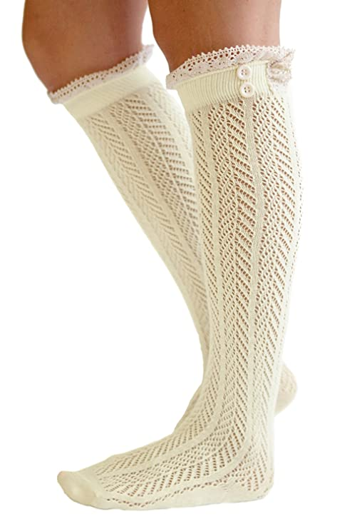 The Original Button Boot Socks with Lace Trim Boutique Socks by Modern Boho Cream best boot socks