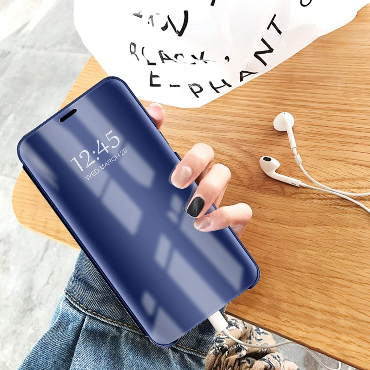 Gold Caler Kompatibel Huawei Honor Play H/ülle Spiegel Cover Case Flip Schutzh/ülle Clear View Tasche Handyh/ülle mit Handy Ultra PC Mirror Standfunktion D/ünn Sto/ßfest Standing