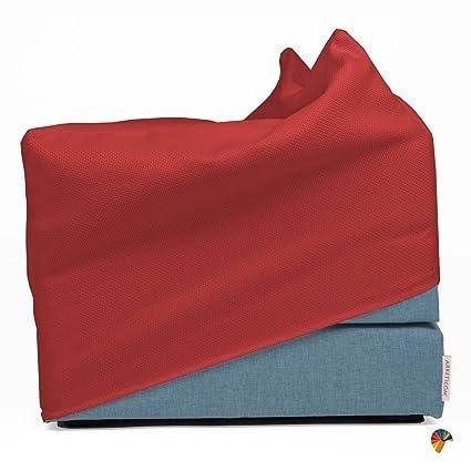 Letto Richiudibile A Cubo.Arketicom Touf 80 Pouf Letto Design Puff Pieghevole Fodera Blu
