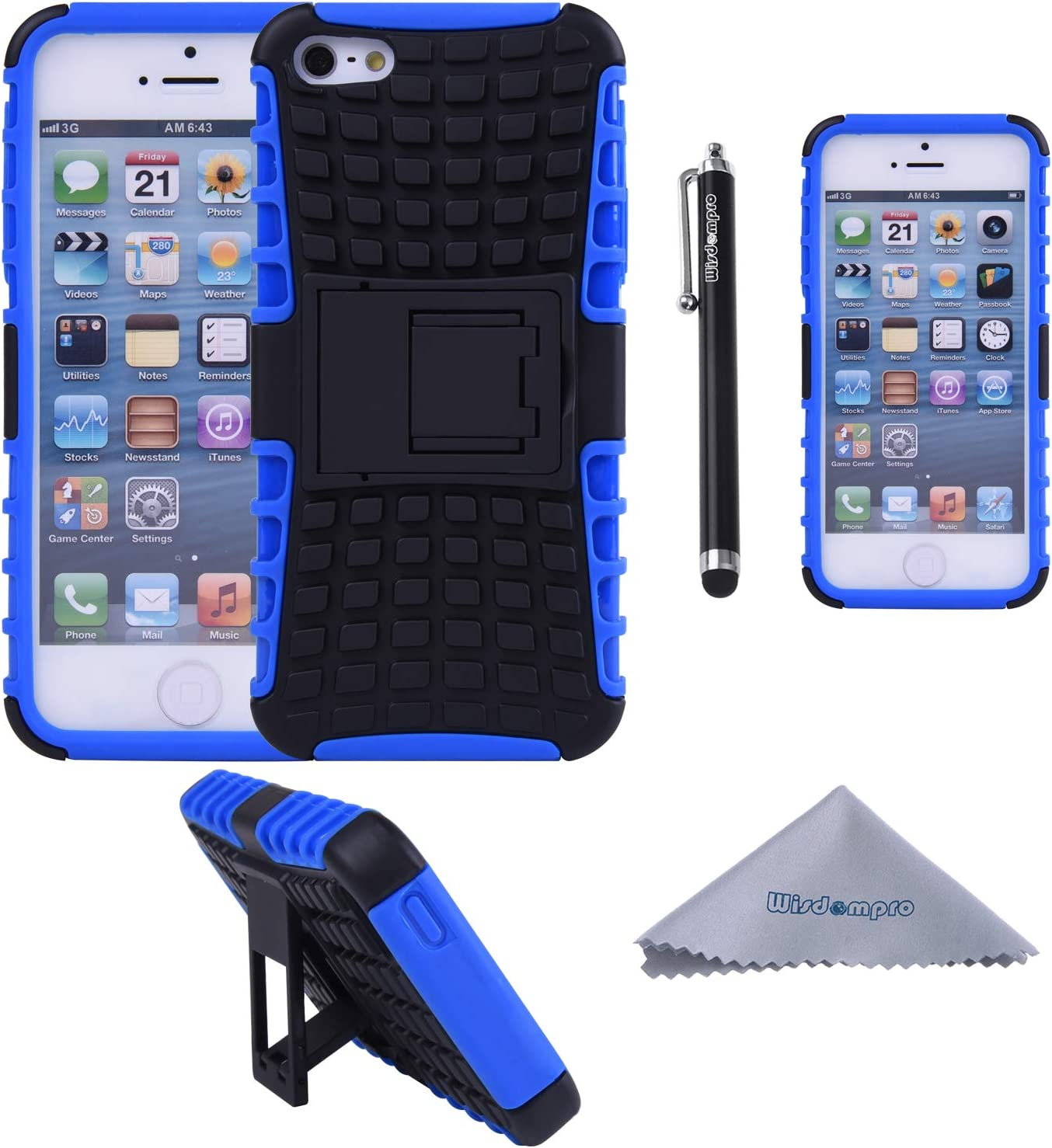 iPhone SE 2016 Case, iPhone 5s, 5 Case, Wisdompro 2 Piece in 1 Dual Layer Heavy Duty Hard Soft Hybrid Rugged Protective Case with Foldable Kickstand for Apple iPhone 5/5s/SE 1st Generation -Blue/Black