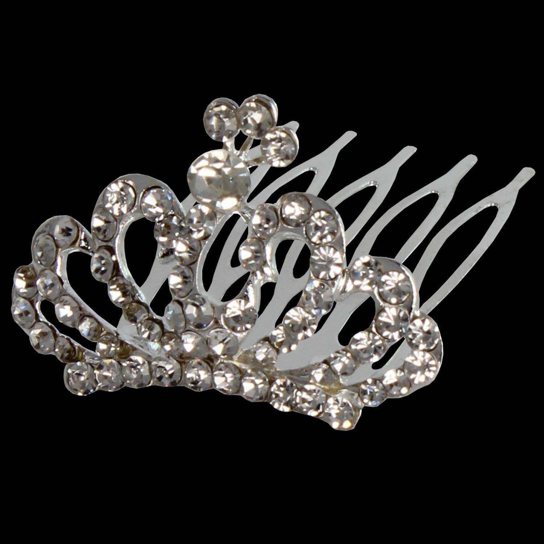 XiangGuanQianYing Rhinestone Tiara Hair Comb Tiaras Girls Crown Comb for Tiara Little Girl Tiara Comb Crowns 12Pcs
