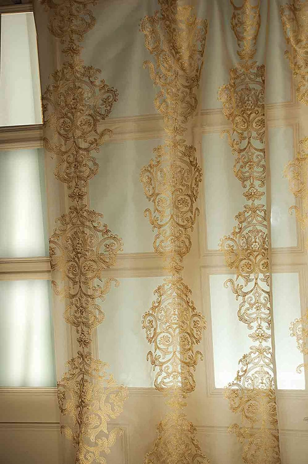 Amazon Gold Crewel Embroidery Silk Sheer Curtain Panel Rod Pocket 52W X 84L Home Kitchen