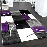 Designer Teppich mit Konturenschnitt Teppich Kariert Lila Schwarz Grau, Grösse:120x170 cm
