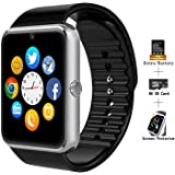Smart Watches, Three Tree GT08 Touch Screen Bluetooth WristWatch with Camera/SIM Card Slot/Pedometer Analysis/Sleep Monitoring for Android (Full Functions) and IOS (Partial Functions) (Black)