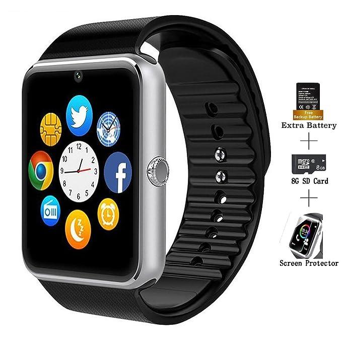 Reloj inteligente, AXCEED GT08 con bluetooth y pantalla táctil. Reloj deportivo de pulsera con cámara, micrófono, ranura para tarjeta SIM y TF.