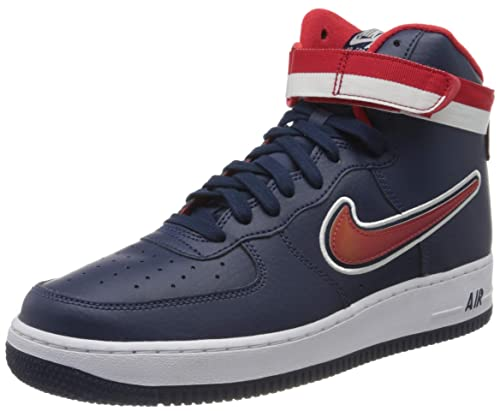 Nike Men's Air Force 1 High 07 LV8 Sport, Midnight NavyUniversity RED, 8 M US