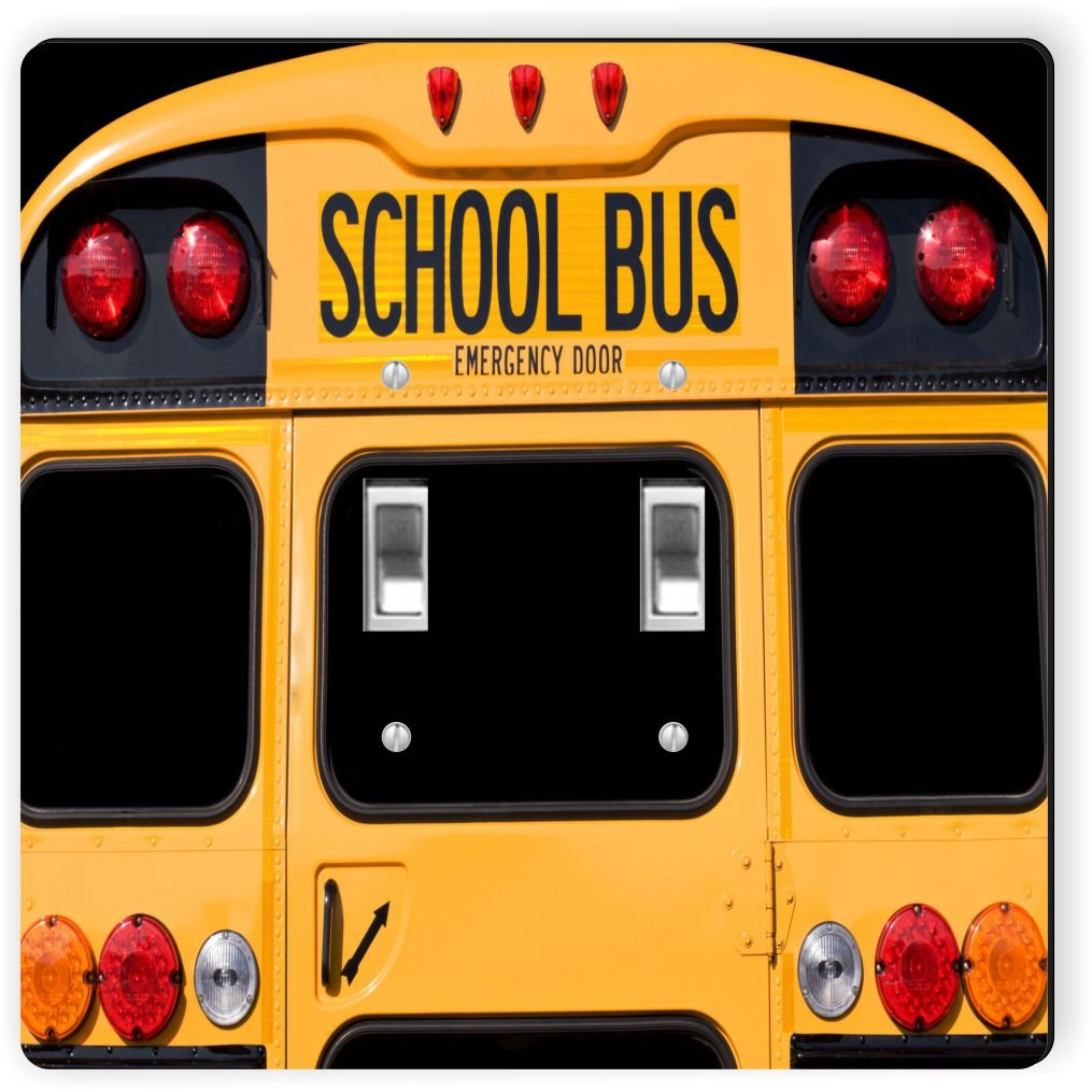 Rikki Knight 8879 Double Toggle Back of A Yellow School bus Design Light Switch Plate