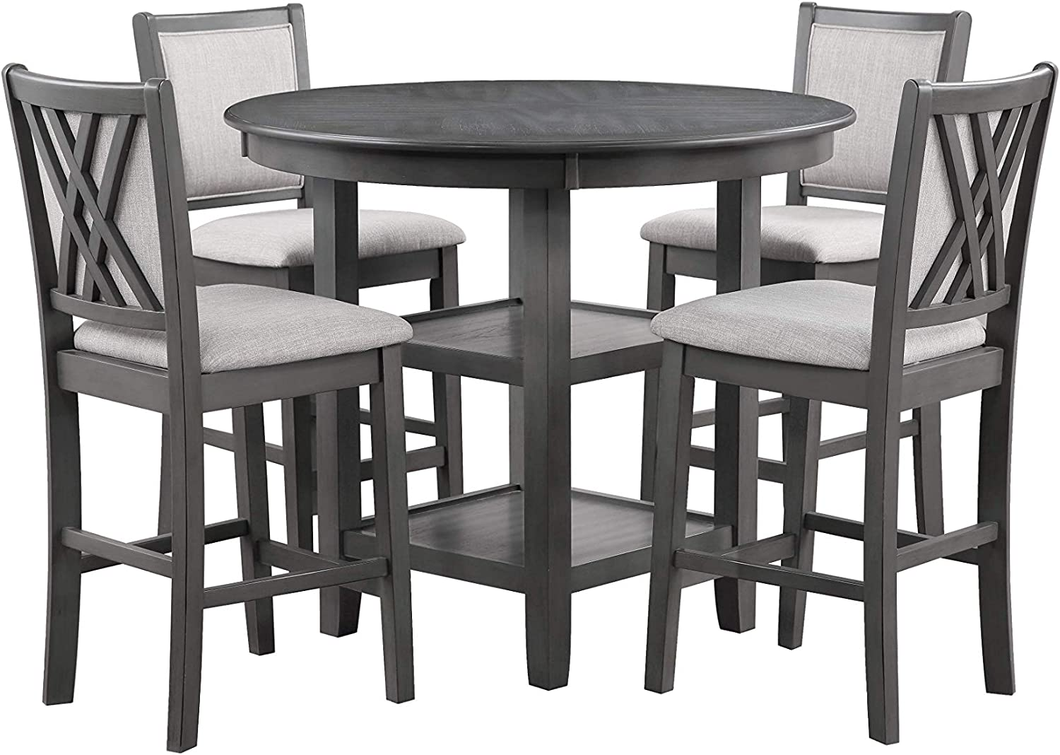 New Classic Furniture Amy 5-Piece Counter Dining Set, Gray