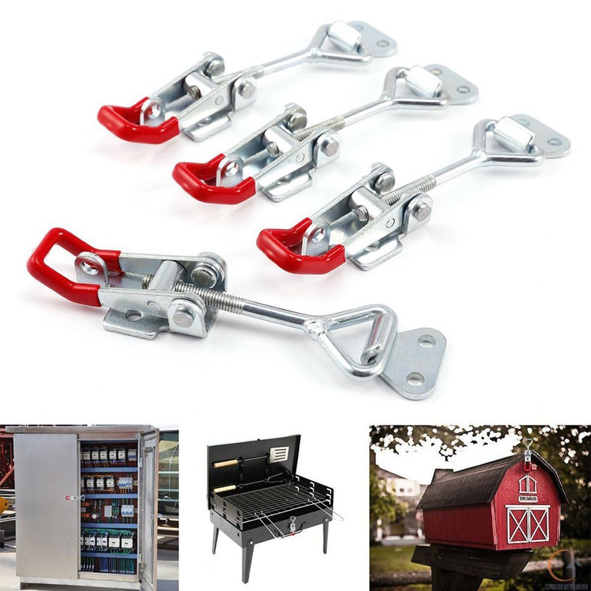 4X Cupboard Cabinet Metal Toggle Latch Catch Adjustable Lock Clamp Hasp Box Case