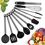Kitchen Utensils, 9 Piece Cooking Utensils Nonstick Utensil Set, Silicone and Stainless Steel Kit with Serving Tongs, Spoon, Spatula, Pasta Server, Ladle, Slotted turner, Whisk, Skimmer, Planer