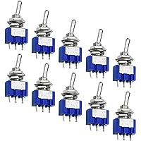 WEKON SPDT Toggle Switch 10 stuks tuimelschakelaar, mini-schakelaar, AC 125 V, 6 A, ON-ON 3 pins, 2 posities met metalen…