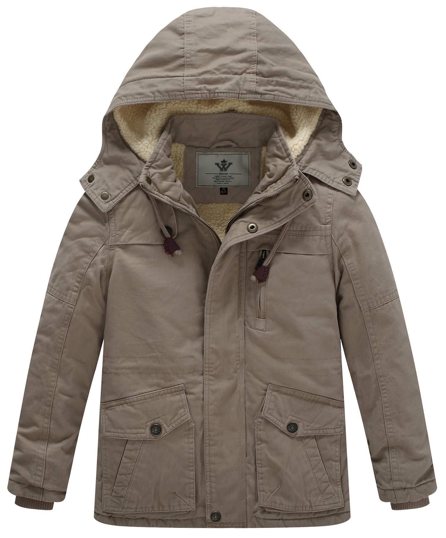 WenVen Boy's and Girl's Cotton Heavy Hooded Parka Coat(Khaki,X-Small-6-7)