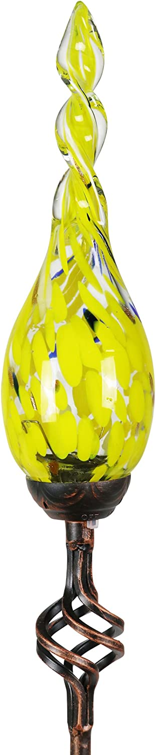 Exhart Solar Garden Stake Lights – Solar Glass Yellow Twisted Flame Garden Stakes – Handblown Glass Finial Lights, LED Accent Lights That Transform a Garden Driveway or Event (9in Glass 36in Stake)