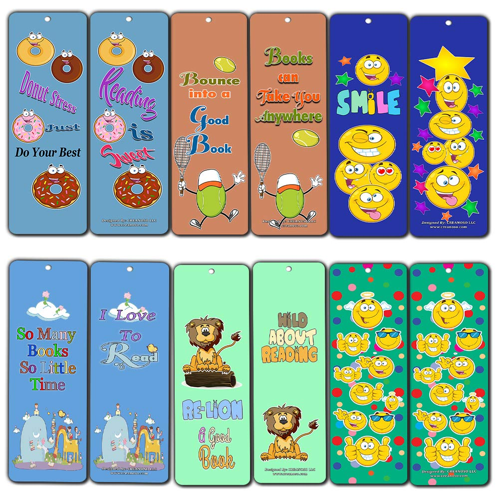 Creanoso Emoji Bookmarks Cards (60-Pack) - Smiley Face Emoticon Bookmarker - Books Reading Rewards Incentives for Kids Boys Girls Classroom Supplies - Stocking Stuffer Gifts
