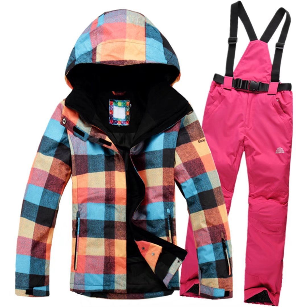 OLEK Women's High Waterproof Windproof Technology Snowboarding Jacket Ski Pants Set