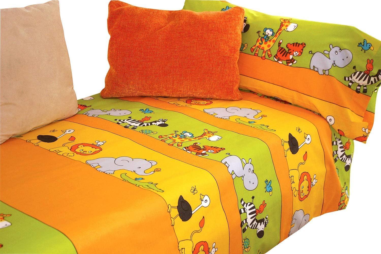 Design Zoo Letto da 90cm Set Lenzuola 50/% Cotone Multicolore Montse Interiors Set Lenzuola Singole per Bambini con Federa per Cuscino