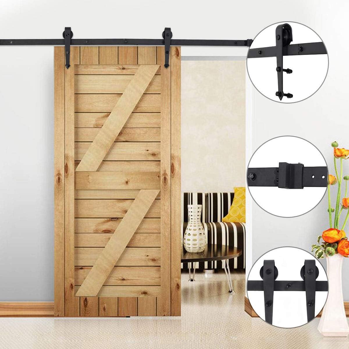 Set de herraje para puerta corredera, sistema para puertas correderas, puerta corredera de cristal, de acero inoxidable para puerta corredera de cristal o madera 1830 mm: Amazon.es: Bricolaje y herramientas