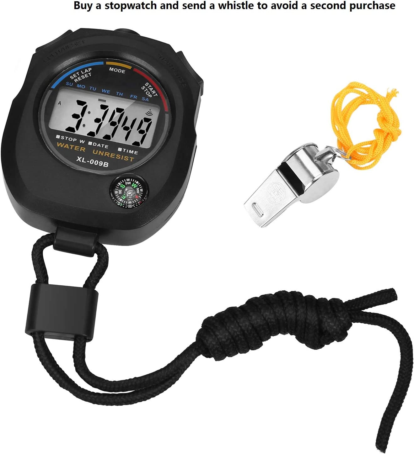 Keyu Sport stopwatches Timer,Digital Stopwatch Big Screen Interval Timer Dedicated to Training /& Sports.Simple Stopwatch Operation+Whistle.5 Pack