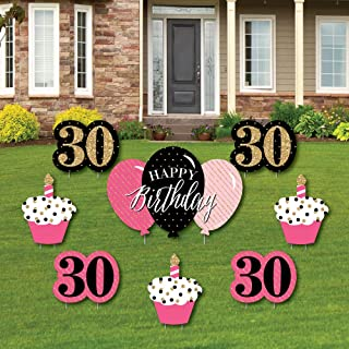 product image for Big Dot of Happiness Chic 30th Birthday - Pink, Black and Gold - Yard Sign and Outdoor Lawn Decorations - Happy Birthday Party Yard Signs - Set of 8