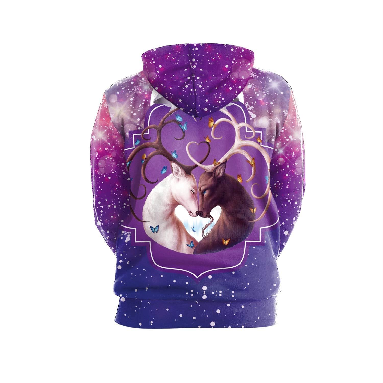 749086242459 Amazon.com  Ruiyue Hip-hop Punk Women Men Sweatshir 3D Printed Cartoon  Hoodies Pullovers Colorful Hoodie Purple Elk Love Sweatshirts Couple (Size    M)  Home ...