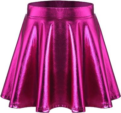 Parabler Falda para Mujer, metálica, Falda para Patinar, Falda ...