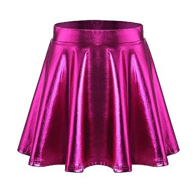 Parabler Falda de Mujer, Falda con Pliegues metálicos básicos ...