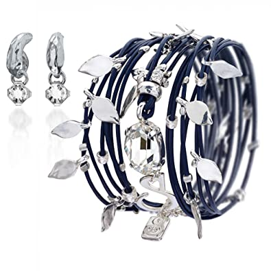 854ce0b88 Wrap Leather Bracelet Turns To Necklace, Silver Shade Leather With A Clear  Swarovski Crystal 925 Silver Plated Handmade By SEA-Smadar: Amazon.co.uk:  ...