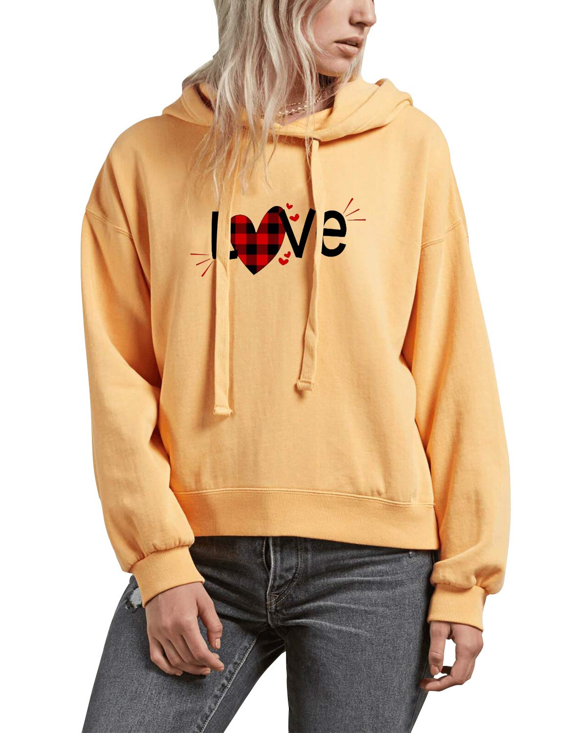 Blooming Jelly Women's Love Shirt Letter Print Long Sleeve Pullover Hoodie Yellow