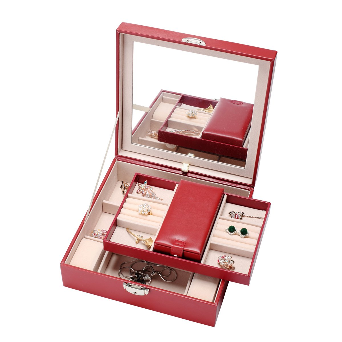 Pasutewel Jewelry Organizer,PU Leather Jewelry Box - Large Mirror & 2 Trays for Women and Girls Earring Ring Necklace Bracelet & Watch Organizer with Lock