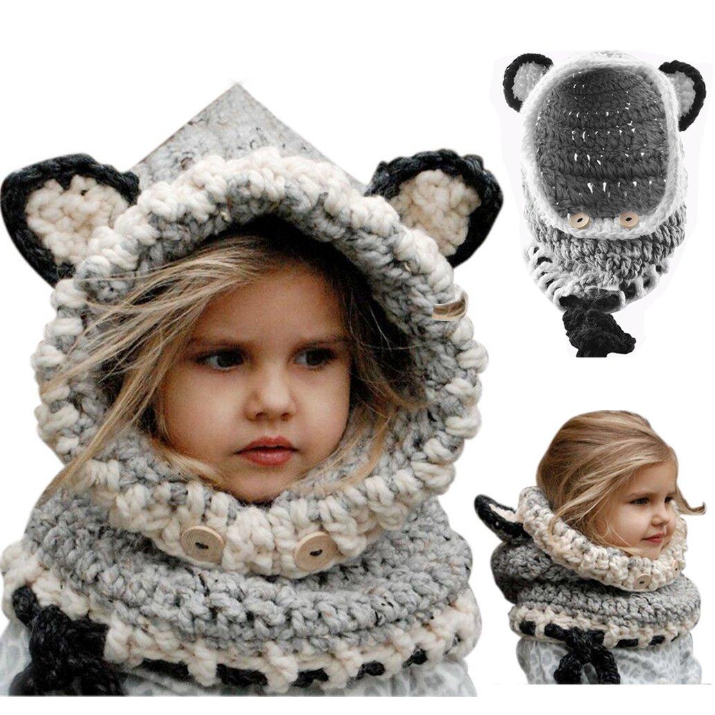 Cappello del Fumetto di Stile,Bonice Fox Scialle Bella Bambino Maglia di Lana di Inverno Cappa con C...