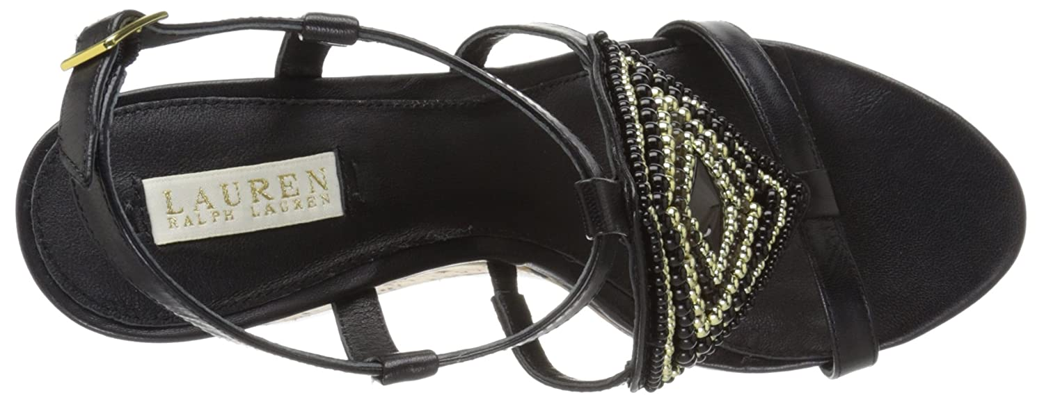 Lauren Ralph Lauren Women's Mattie Wedge Sandal B0194FSXGY 11 B(M) US|Black Kidskin