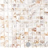 """Sample Size 4"""" x 4"""" Genuine Mother of Pearl Shell Tile Natural Varied 1"""" X 1"""" Squares for Backsplash and Bathroom Walls and Floors"""