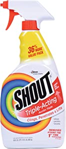 Shout Triple-Acting Laundry Stain Remover Spray Bottle for Everyday Stains, 30 fl oz Value Pack