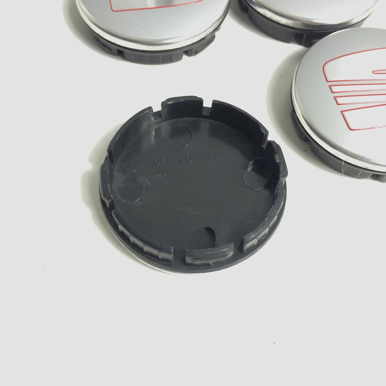 4x SEAT ROT SILBER CHROM Logo 56mm Nabenkappen Nabendeckel Radkappen Felgendeckel Rad Vollst/ändiger Satz Kappen 6LL 601 171 5JA 601 151A 5JA601151A 5JA601151 1JO601171 1J0 601171 FR SPORT PERFORMANCE IBIZA LEON ALHAMBRA AROSA ALTEA MII TOLEDO und weit
