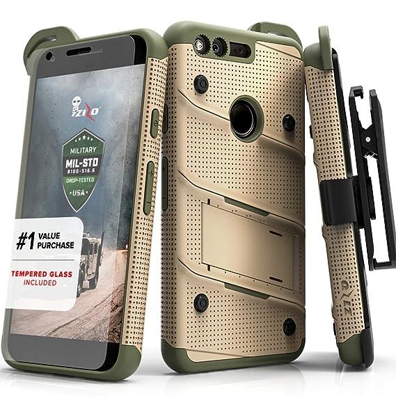 online store 90735 f28a7 Zizo Bolt Series Compatible w/Google Pixel XL w/[Screen Protector]  Kickstand [12 ft. Military Grade Drop Tested] Holster Clip (Desert Tan/Camo  Green)