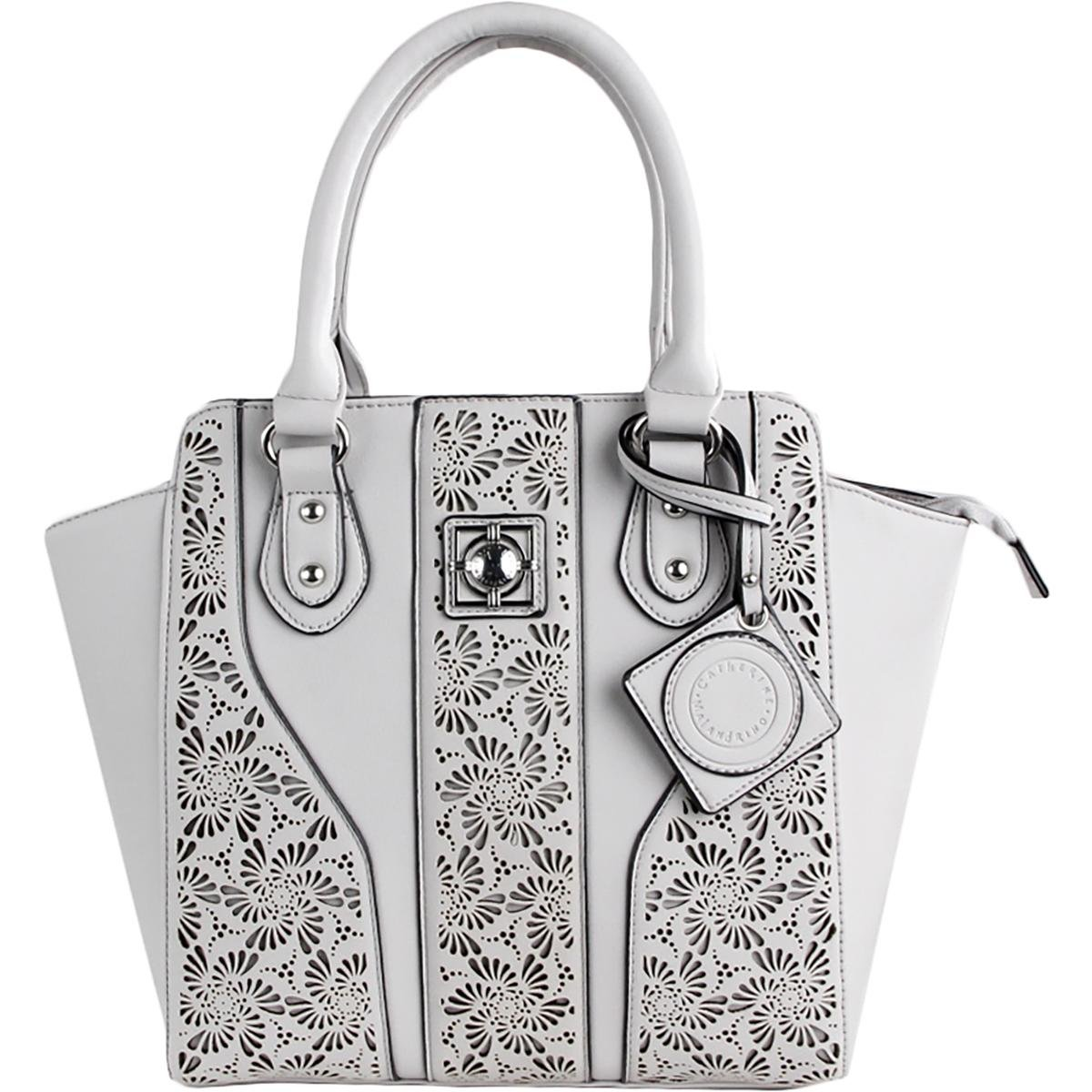 Catherine Malandrino Womens Collette Leather Cut-Out Tote Handbag Gray Large