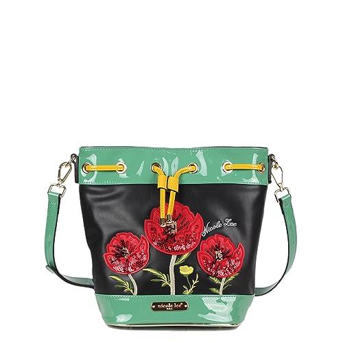 Floral Embroider Design with Sequin Details  Black  Bucket Bag by Nicole Lee   Handbags  Amazon.com 23e22e74d8960