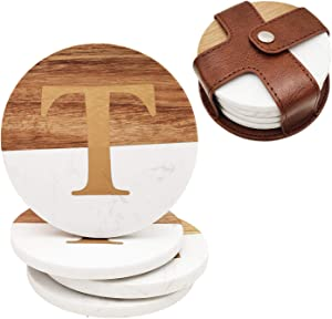 Wood and Marble Coasters with Leather Holder ,4Pcs White Coaster with Gold Initials for Office and Home Use, Perfect Monogram Gifting or Collecting, Capital Letter T