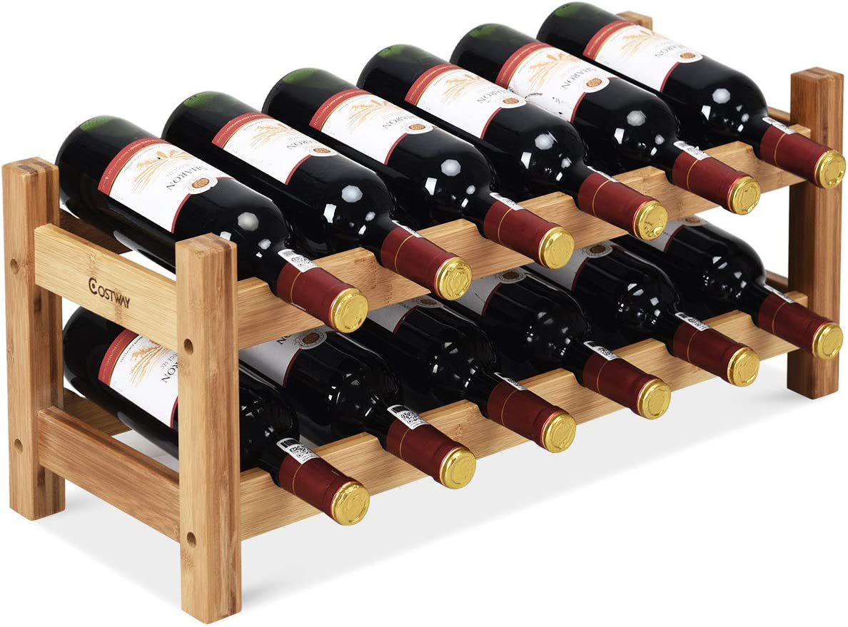 Bamboo 12 Bottles 2-Tier Wine Display Rack