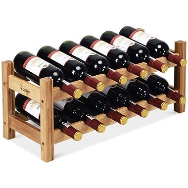 COSTWAY Wine Rack, Bamboo 12 Bottles 2-Tier Wine Display Rack for Countertop Home Kitchen Pantry, Free Standing Wine Storage, Rack Tabletop Wine Rack (12 Bottles)