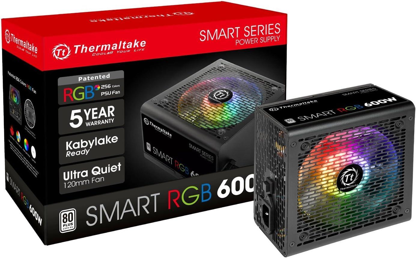 Thermaltake Smart RGB 600W 80+ 256-Color RGB Fan ATX 12V 2.3 Kaby Lake Ready Power Supply 5 Yr Warranty Power Supply PS-SPR-0600NHFAWU-1