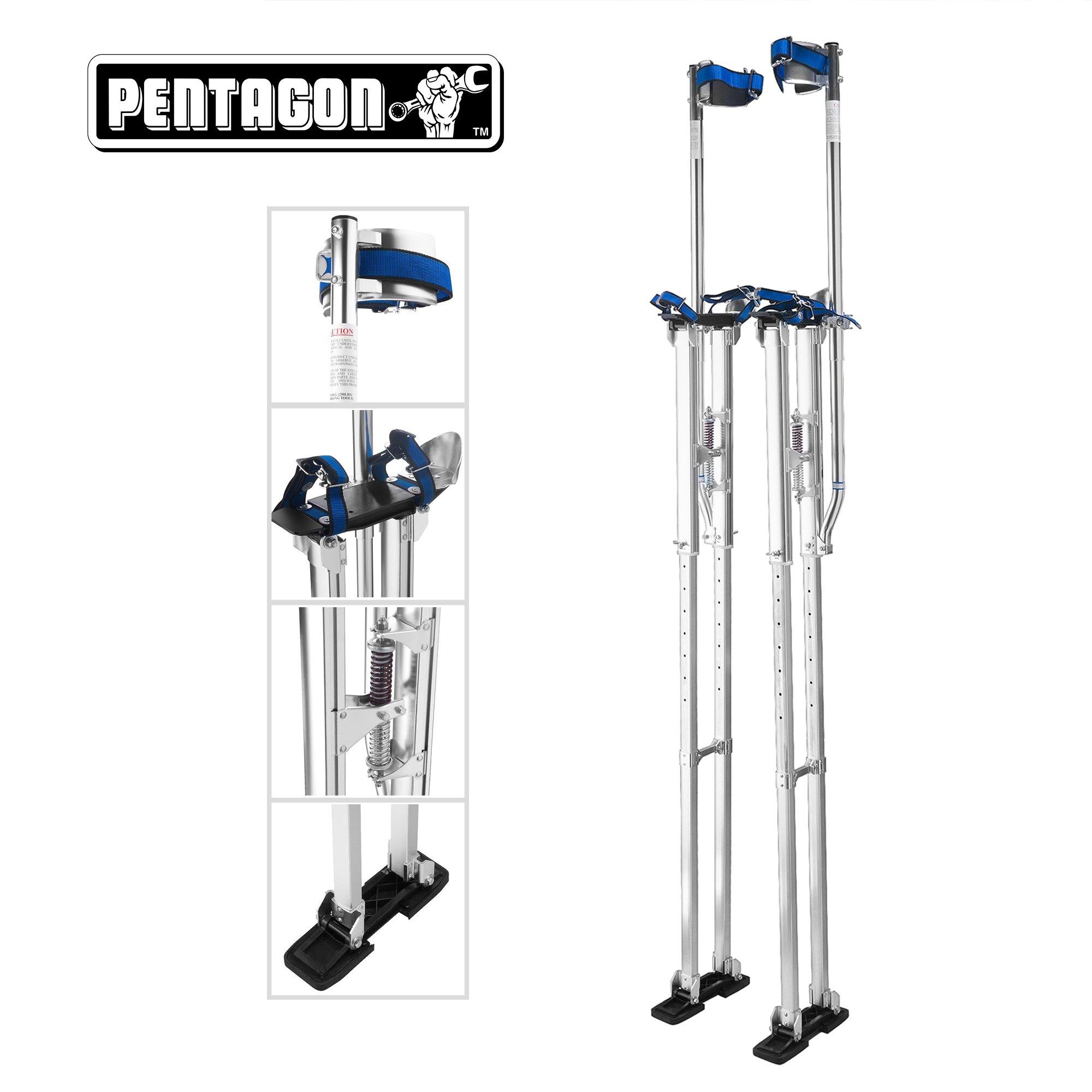 Pentagon Tools | Professional 48''- 62'' | Silver Drywall - Painting - Work Stilts | Aluminum