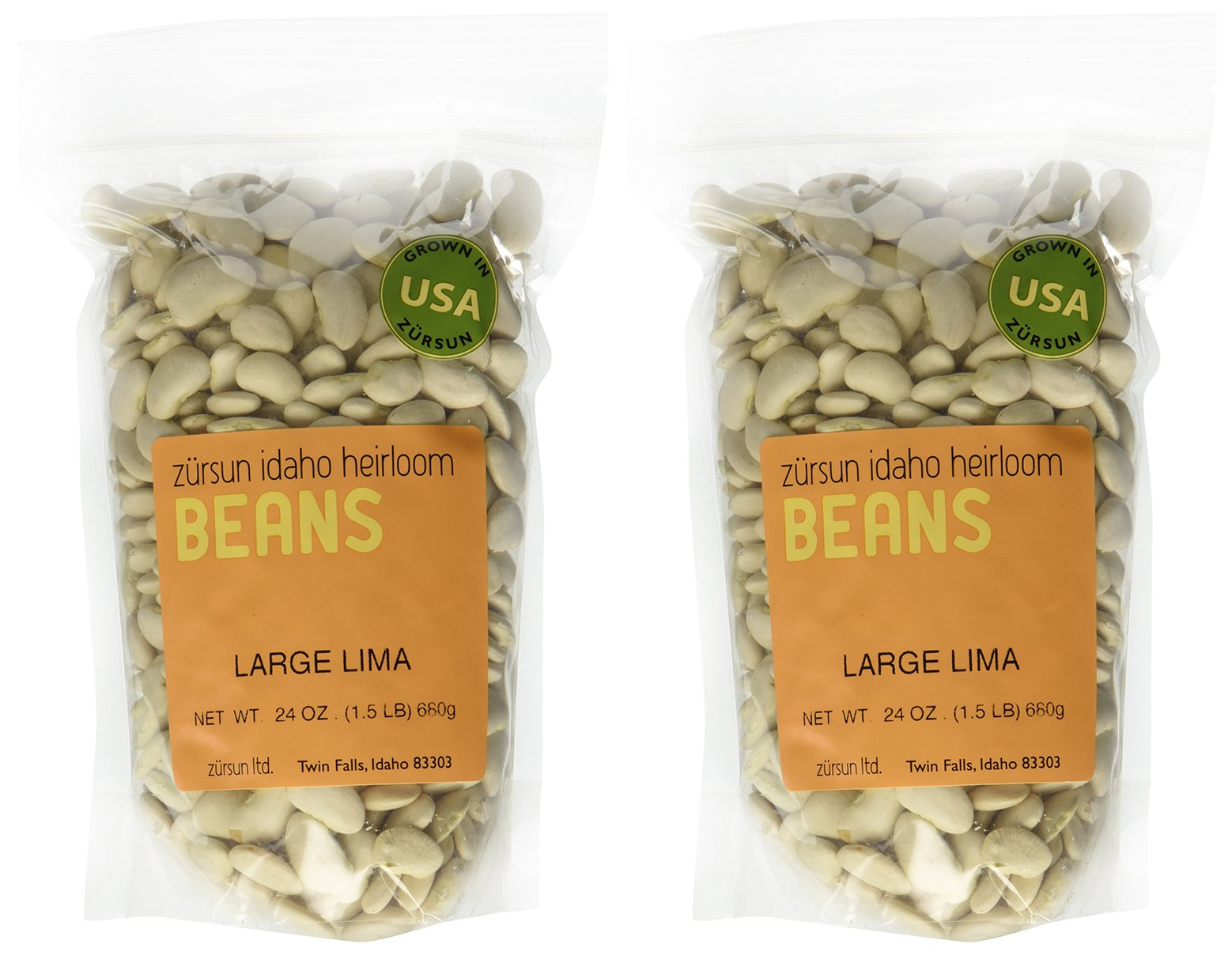 Large Heirloom White Lima Butter Beans Idaho Pack of 2 680 g 24 oz each by Zursun Ltd.