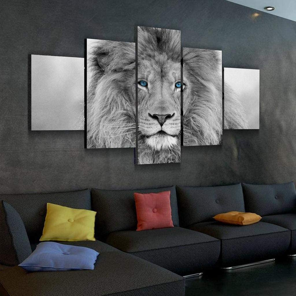 JESC Black White King Lion Head Portrait Wall Art Blue Eyes Painting Pictures Print On Canvas Animal The Picture for Home Modern Decoration