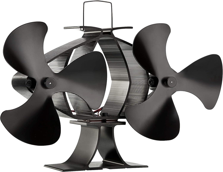 Zennox Doble ventilador de estufa de 6 cuchillas Accionada con calor Respetuoso con el medio ambiente para quemadores de madera y quemador de leña