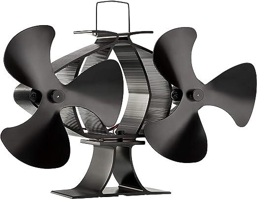 Zennox Doble ventilador de estufa de 6 cuchillas Accionada con ...
