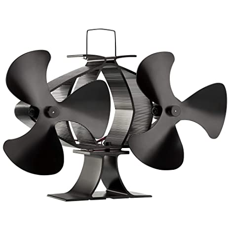 Zennox Doble ventilador de estufa de 6 cuchillas Accionada con calor Respetuoso con el medio ambiente