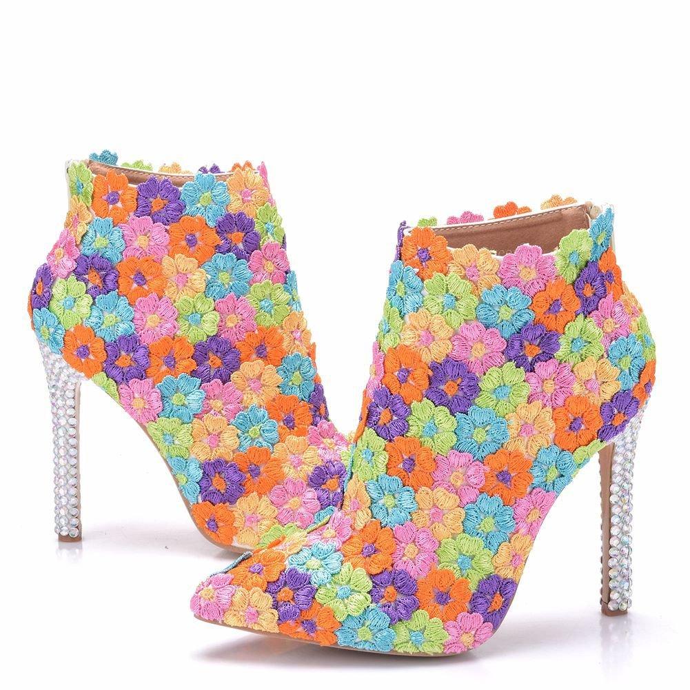 FYM Kurze Schuhe DYF Schuhe Kurze FYM Stiefel Bump Farbe Feinen High Heel Reißverschluss Hochzeit Spitze  Farbeful 9068c9